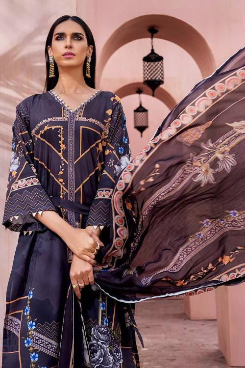 Gul Ahmed 3 Piece Custom Stitched Suit - Black - LB16714