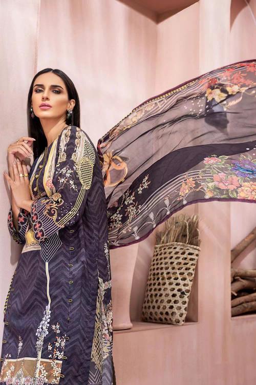 Gul Ahmed 3 Piece Custom Stitched Suit - Grey - LB16716