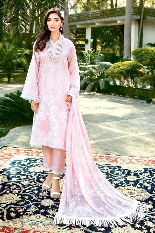 Gul Ahmed 3 Piece Custom Stitched Suit - Pink - LB16718