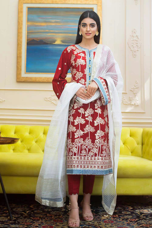 Gul Ahmed 3 Piece Custom Stitched Suit - Red - LB16719
