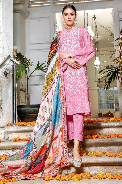 Gul Ahmed 3 Piece Custom Stitched Suit - Pink - LB16720