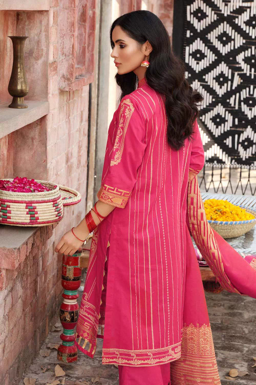 Gul Ahmed 3 Piece Custom Stitched Suit - Pink - LB16721