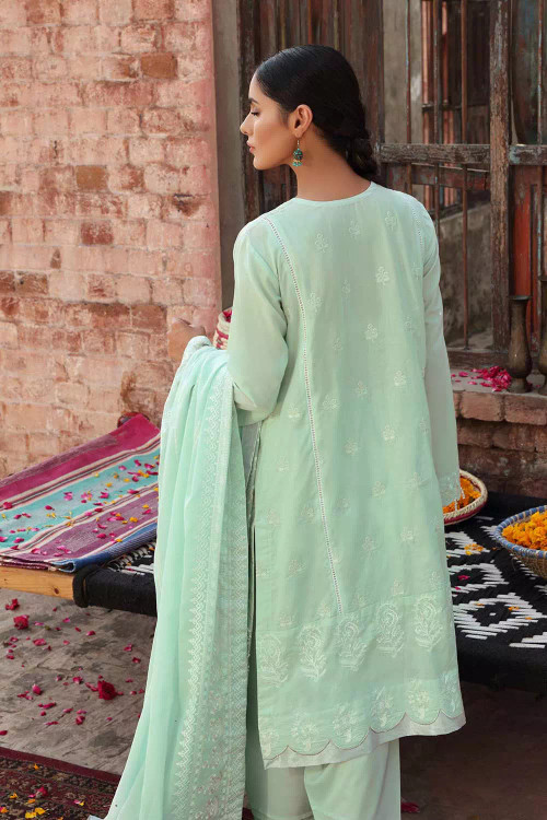 Gul Ahmed 3 Piece Custom Stitched Suit - Green - LB16723