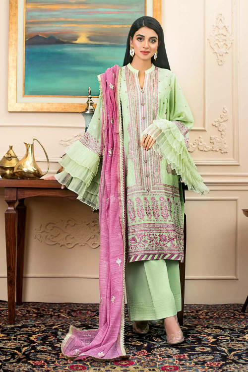 Gul Ahmed 3 Piece Custom Stitched Suit - Green - LB16725