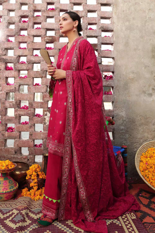 Gul Ahmed 3 Piece Custom Stitched Suit - Maroon - LB16726