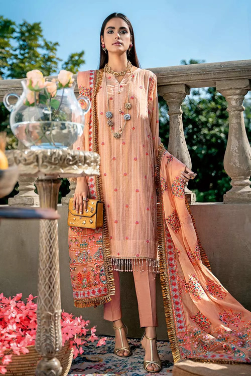 Gul Ahmed 3 Piece Custom Stitched Suit - Pink - LB16728