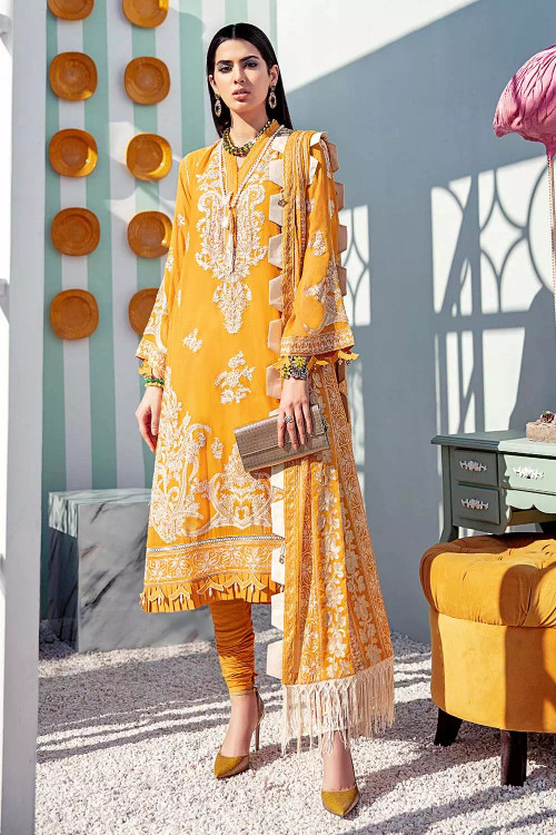 Gul Ahmed 3 Piece Custom Stitched Suit - Yellow - LB16730