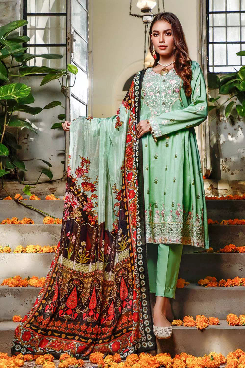 Gul Ahmed 3 Piece Custom Stitched Suit - Green - LB16731