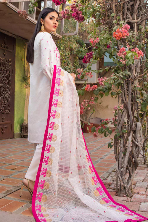 Gul Ahmed 3 Piece Custom Stitched Suit - White - LB16732