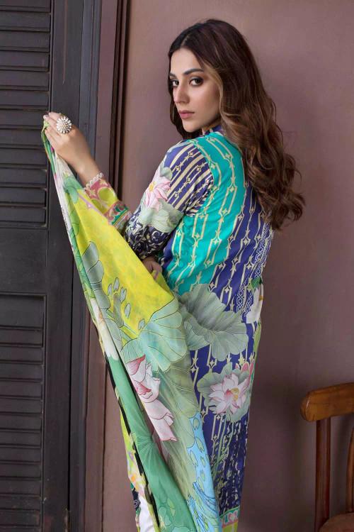 Gul Ahmed 3 Piece Custom Stitched Suit - Aqua - LB16734