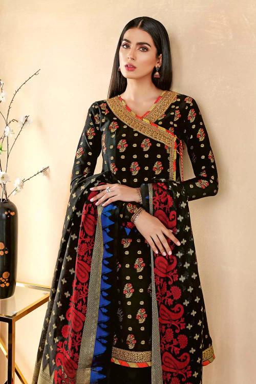 Gul Ahmed 3 Piece Custom Stitched Suit - Black - LB16736