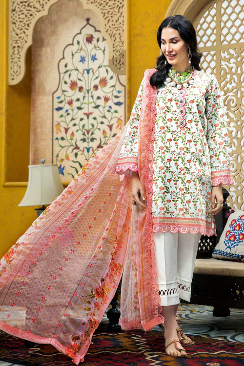 Gul Ahmed 3 Piece Custom Stitched Suit - Off-White - LB16737