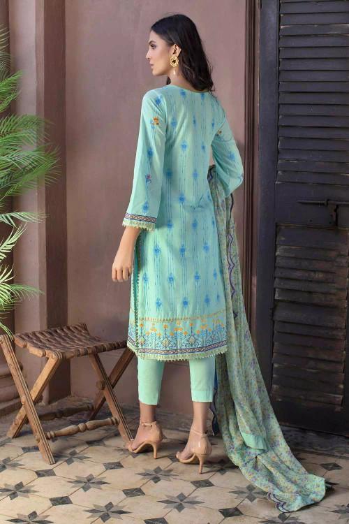 Gul Ahmed 3 Piece Custom Stitched Suit - Sky Blue - LB16740