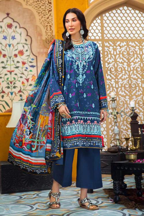 Gul Ahmed 3 Piece Custom Stitched Suit - Blue - LB16741