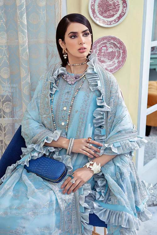 Gul Ahmed 3 Piece Custom Stitched Suit - Blue - LB16742