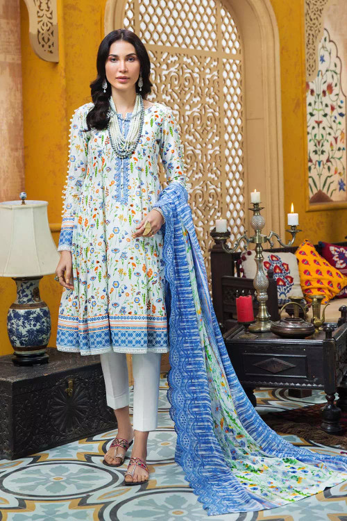 Gul Ahmed 3 Piece Custom Stitched Suit - Blue - LB16744
