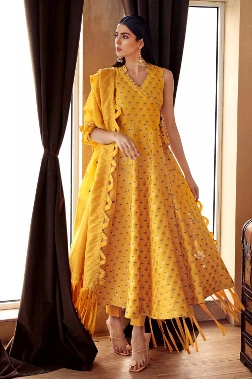 Gul Ahmed 3 Piece Custom Stitched Suit - Yellow - LB16745
