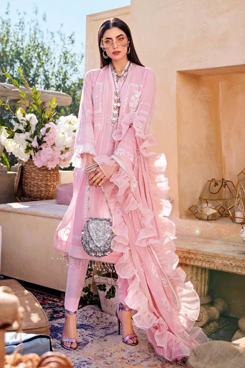 Gul Ahmed 3 Piece Custom Stitched Suit - Pink - LB16746