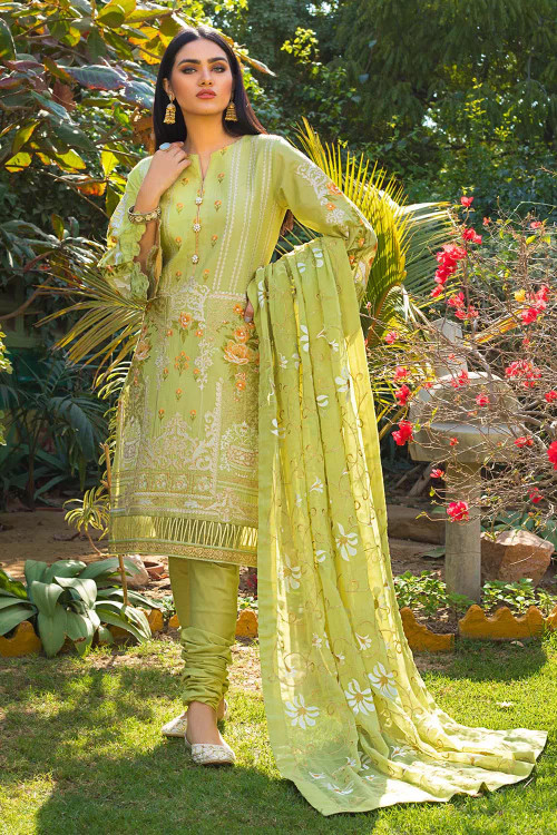 Gul Ahmed 3 Piece Custom Stitched Suit - Green - LB16747