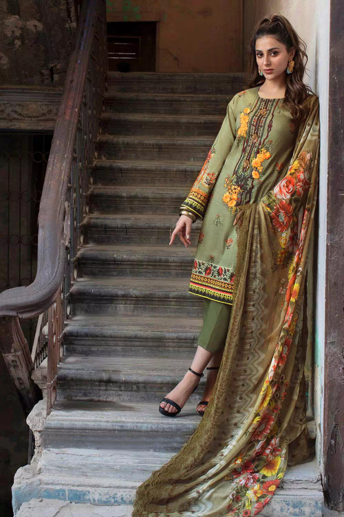 Gul Ahmed 3 Piece Custom Stitched Suit - Green - LB16748