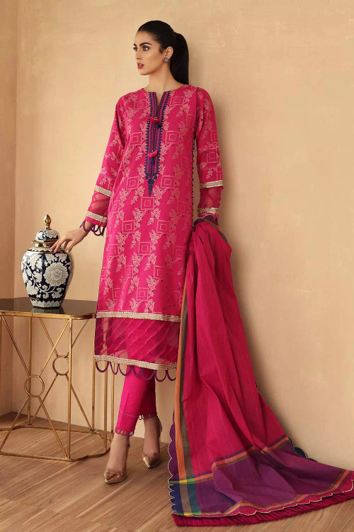 Gul Ahmed 3 Piece Custom Stitched Suit - Pink - LB16750