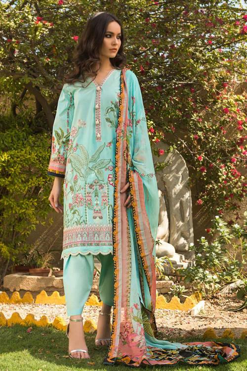 Gul Ahmed 3 Piece Custom Stitched Suit - Aqua - LB16752