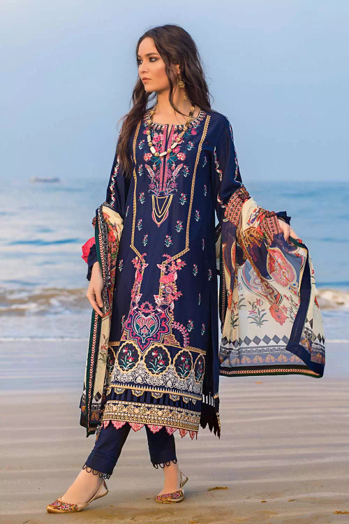 Gul Ahmed 3 Piece Custom Stitched Suit - Blue - LB16753