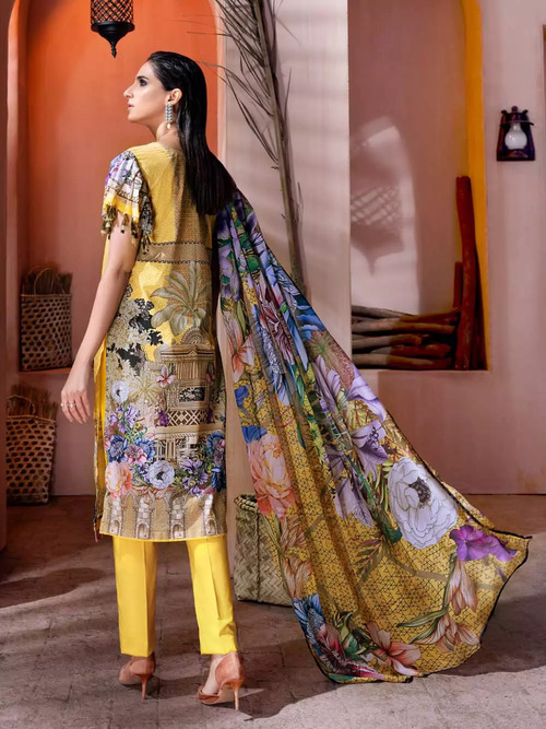 Gul Ahmed 3 Piece Custom Stitched Suit - Yellow - LB16755