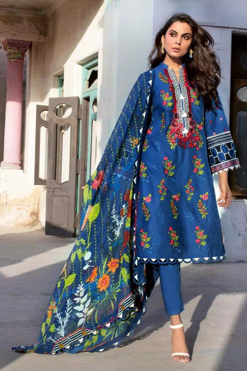 Gul Ahmed 3 Piece Custom Stitched Suit - Blue - LB16757