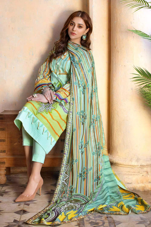 Gul Ahmed 3 Piece Custom Stitched Suit - Green - LB16758