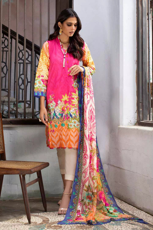 Gul Ahmed 3 Piece Custom Stitched Suit - Pink - LB16759
