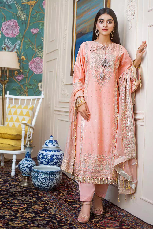 Gul Ahmed 3 Piece Custom Stitched Suit - Pink - LB16760