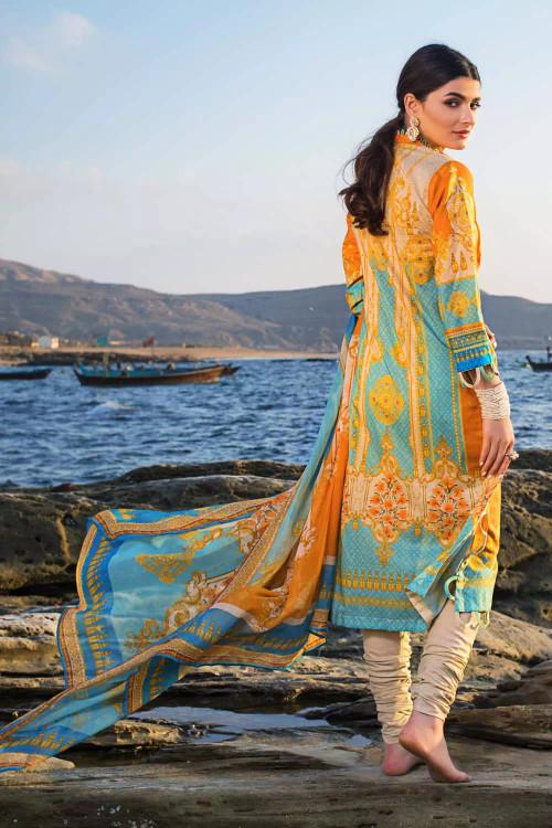 Gul Ahmed 3 Piece Custom Stitched Suit - Orange - LB16761