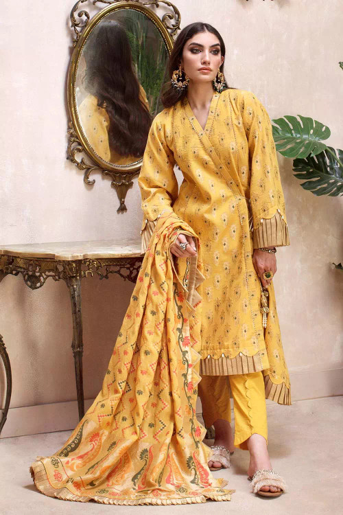 Gul Ahmed 3 Piece Custom Stitched Suit - Yellow - LB16763