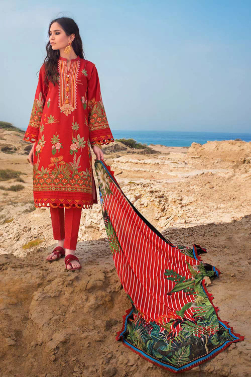 Gul Ahmed 3 Piece Custom Stitched Suit - Red - LB16764