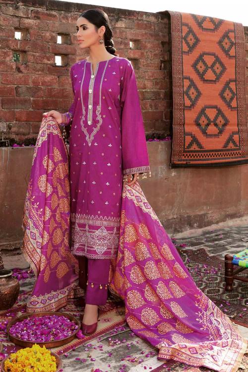 Gul Ahmed 3 Piece Custom Stitched Suit - Purple - LB16765