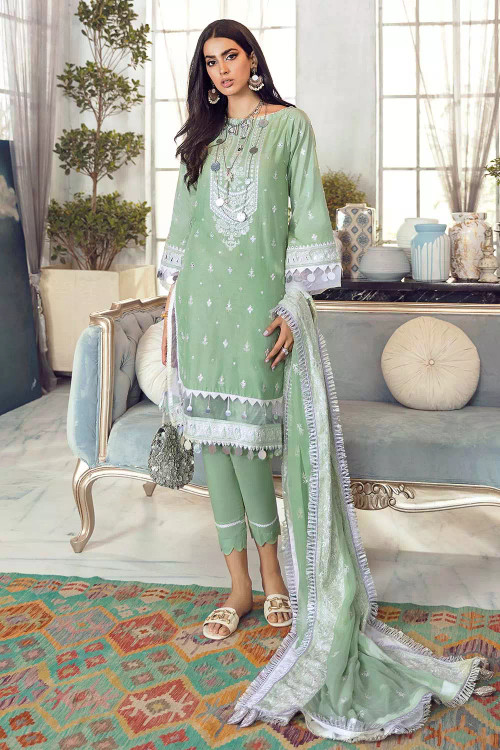Gul Ahmed 3 Piece Custom Stitched Suit - Green - LB16766