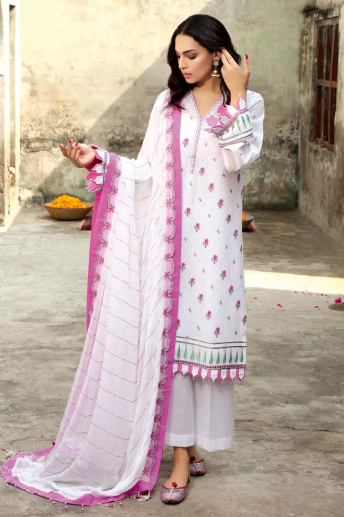 Gul Ahmed 3 Piece Custom Stitched Suit - White - LB16767