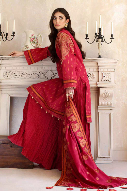 Gul Ahmed 3 Piece Custom Stitched Suit - Red - LB16768