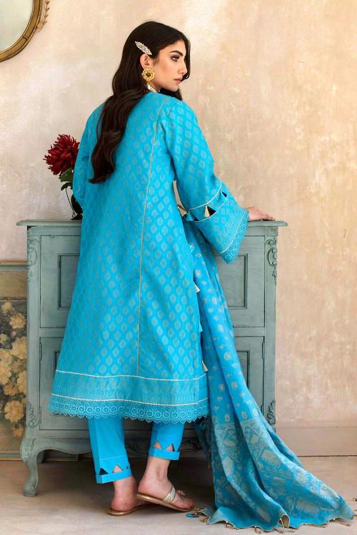 Gul Ahmed 3 Piece Custom Stitched Suit - Blue - LB16770