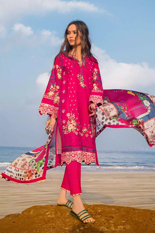 Gul Ahmed 3 Piece Custom Stitched Suit - pink - LB16771