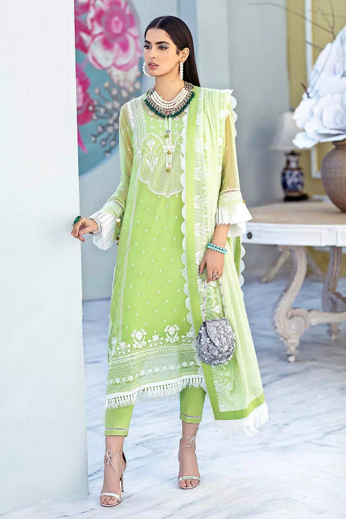 Gul Ahmed 3 Piece Custom Stitched Suit - Green - LB16772