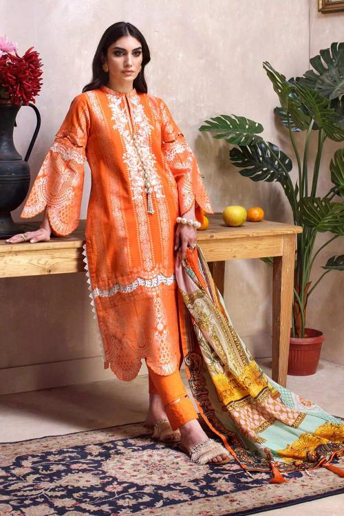 Gul Ahmed 3 Piece Custom Stitched Suit - Orange - LB16775