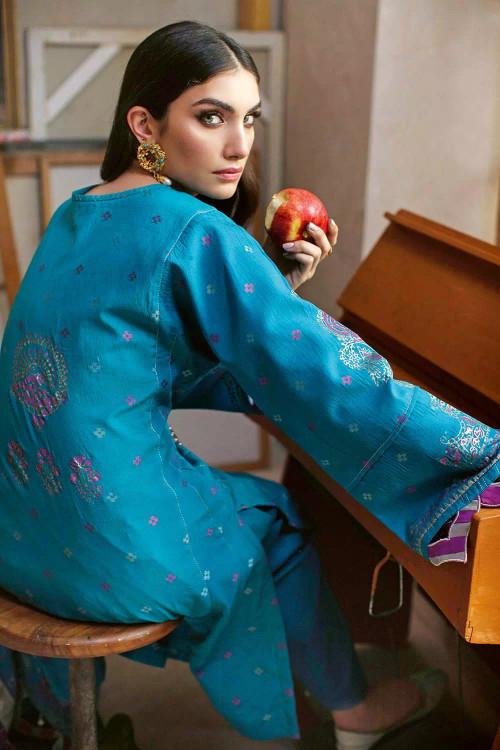 Gul Ahmed 3 Piece Custom Stitched Suit - Blue - LB16778