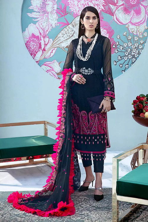 Gul Ahmed 3 Piece Custom Stitched Suit - Black - LB16781