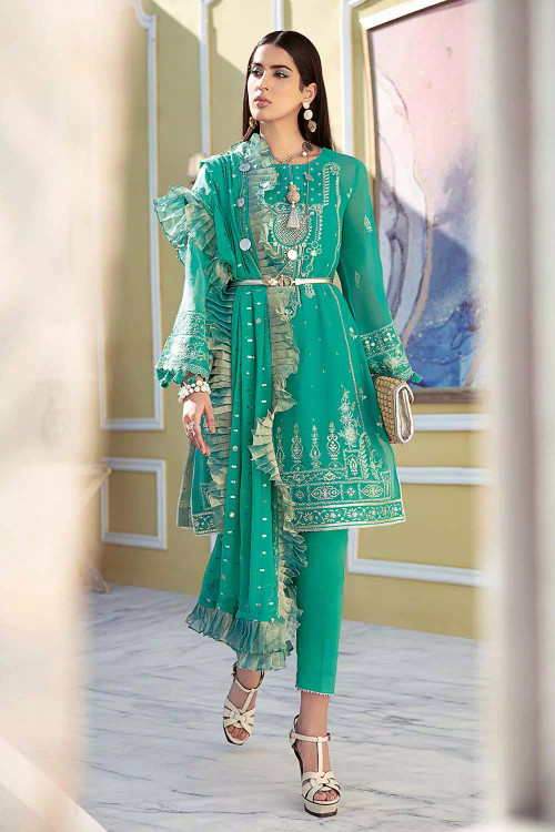 Gul Ahmed 3 Piece Custom Stitched Suit - Green - LB16782