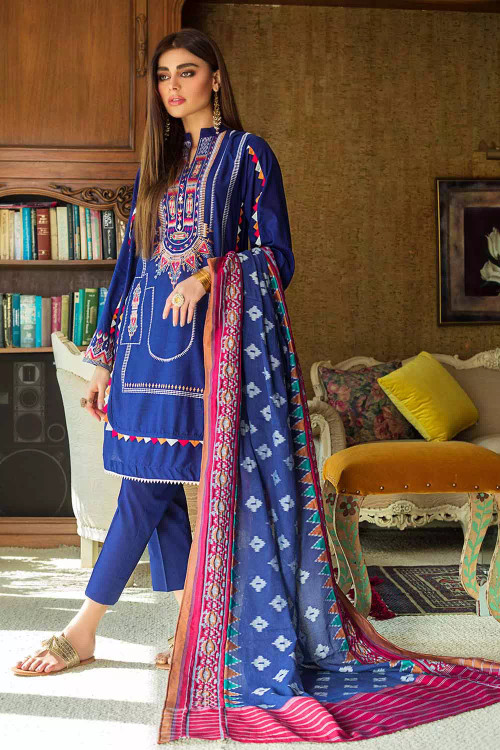 Gul Ahmed 3 Piece Custom Stitched Suit - Blue - LB16785