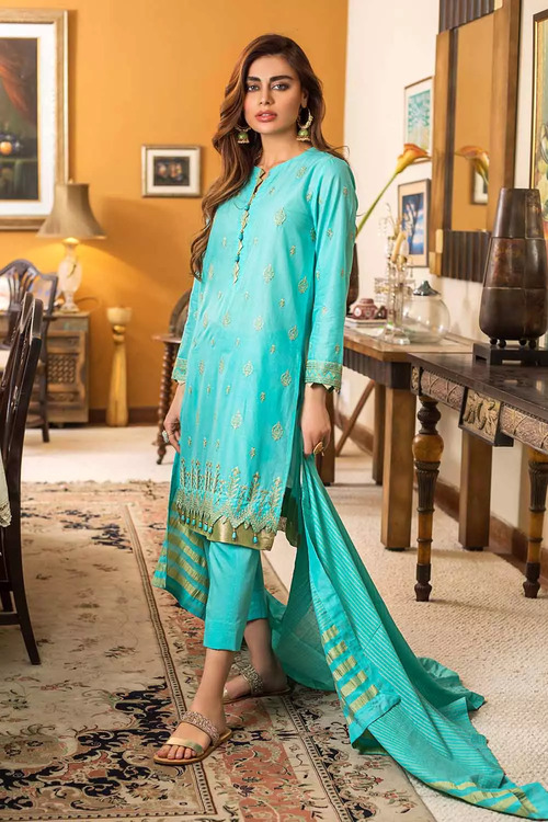 Gul Ahmed 3 Piece Custom Stitched Suit - Aqua - LB16787