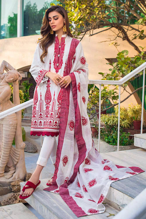 Gul Ahmed 3 Piece Custom Stitched Suit - Pink - LB16788