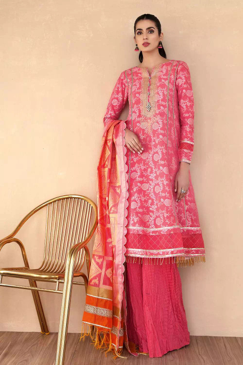 Gul Ahmed 3 Piece Custom Stitched Suit - Pink - LB16789